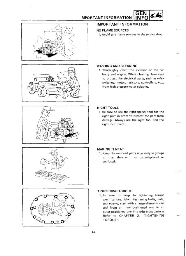 Yamaha g2 golf cart parts manual
