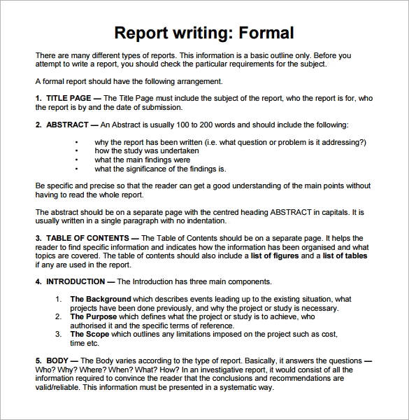 Report writing example pdf for students