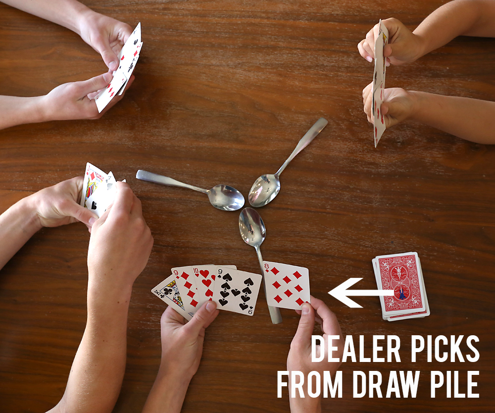 instructions on how to play spoons card game