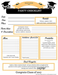 Graduation party planning checklist pdf