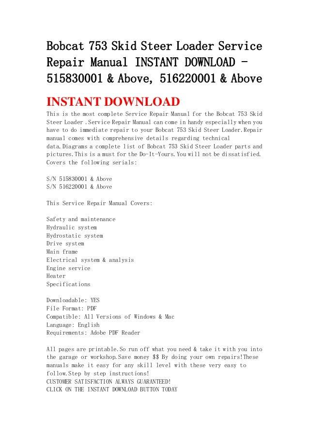Bobcat 753 service manual full download