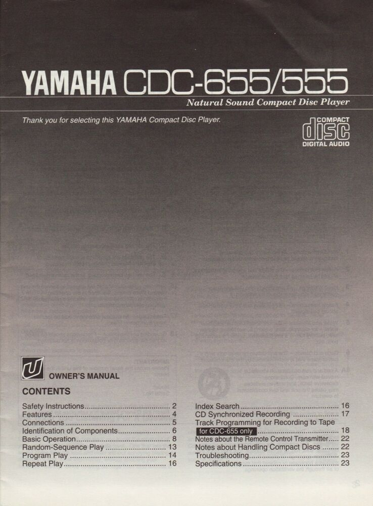 Yamaha cdc 655 service manual