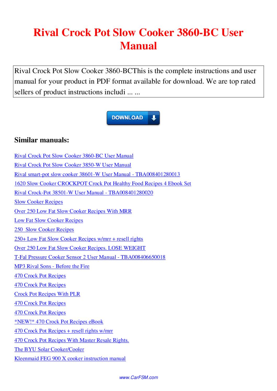 rival crock pot manual pdf
