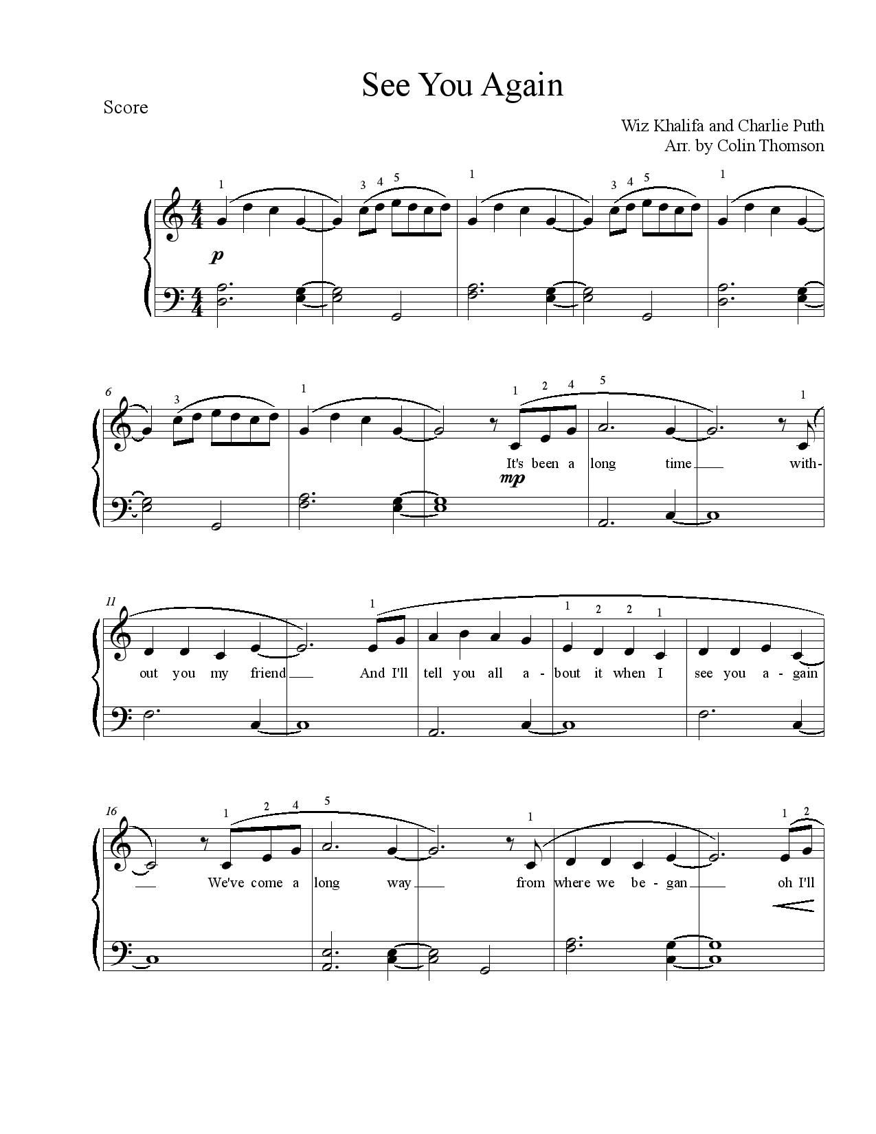 See you again piano notes pdf