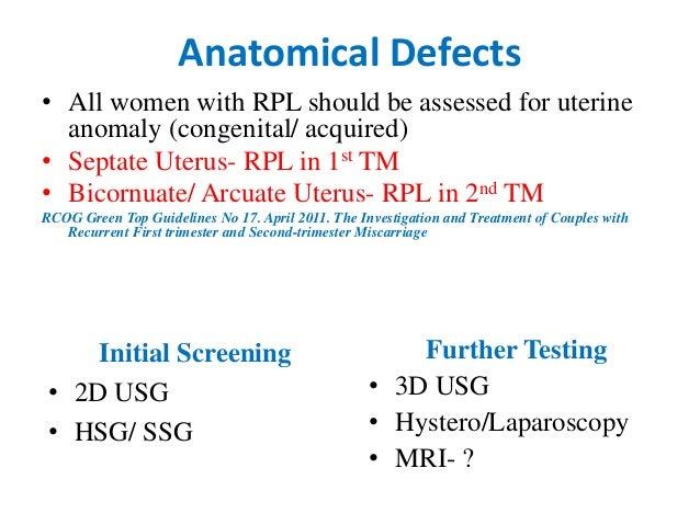 Recurrent pregnancy loss rcog guidelines ppt