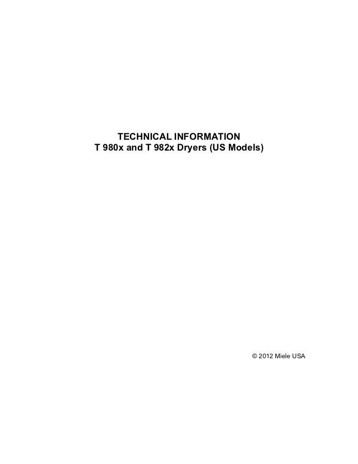 Miele t9800 dryer service manual