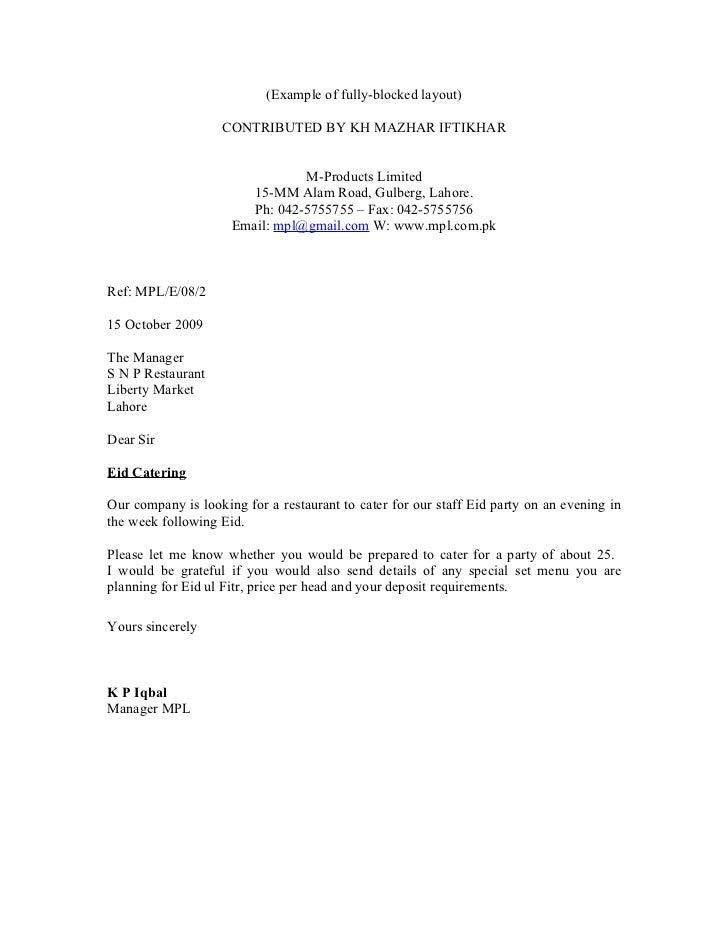 Example of order letter full block