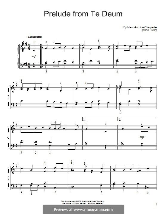 Te deum prelude charpentier organ pdf