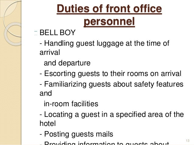 Bellboy duties and responsibilities pdf