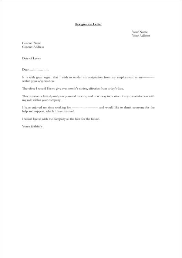 Polite resignation letter sample pdf