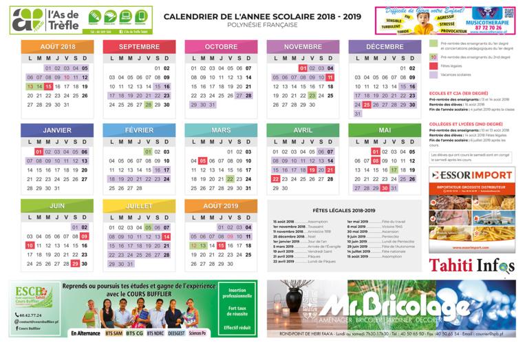 Calendrier scolaire 2018 2019 pdf