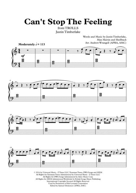 Cant stop the feeling bass transcription pdf