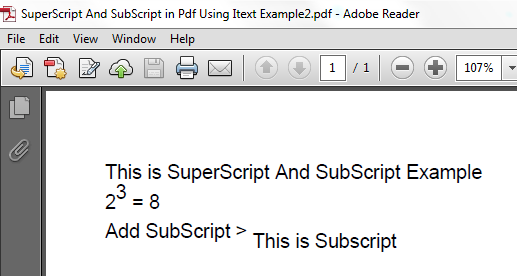 Example of subscript and superscript in html