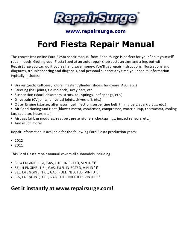 ford fiesta 2011 repair manual pdf